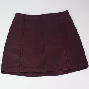 Free People purple faux leather A-Line skirt short